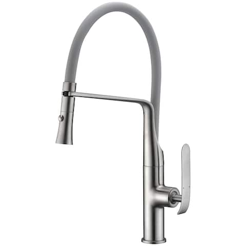 ANZZI Accent Single Handle Pull-Down Sprayer Kitchen Faucet in Brushed Nickel