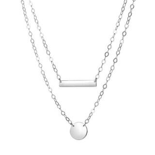 Sterling Silver Bar+Circle Layered Necklace 18 Rhodium Finish