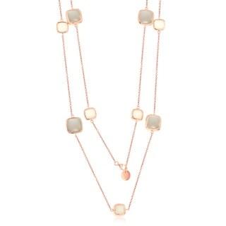 La Preciosa Sterling Silver Rose Gold Italian High Polish Alternating White & Grey Square Moon Stone 36'' Station Necklace