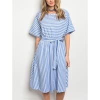 JED Women's Striped Cotton Knee Length Casual Dress