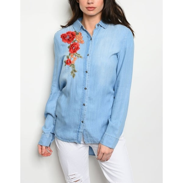e4085fb31bc Shop JED Women s Floral Embroidered Button Down Denim Shirt - Free ...
