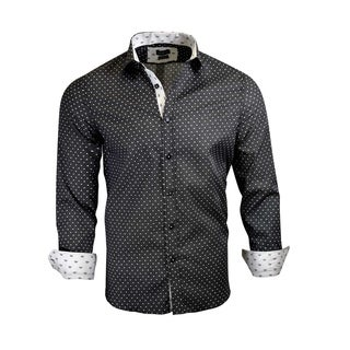 Rosso Milano Big Dots On a Solid Pattern Men's Dress Shirt (2 options available)