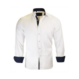 Solid Pattern With Navy Contrasted on Collar, Inner, and Cuffs From Rosso Milano
