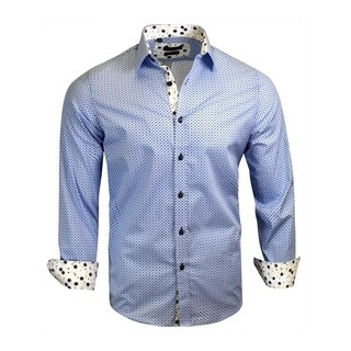 Pokla Dots Shades of Blue With Floral Contast Men's Dress Shirt