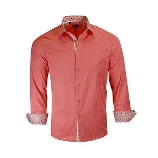Small Flowers Contrasted Inner, Collar, and Cuffs Rosso Milano Dress Shirt (5 options available)
