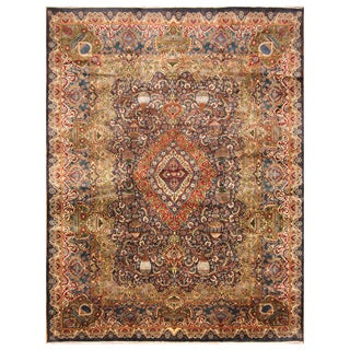 Handmade Herat Oriental Persian Hand-Knotted Kashmar Wool Rug - 9'10 x 13'