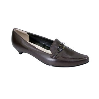PEERAGE Louise Women Extra Wide Width Leather Pumps with Kitten Heels
