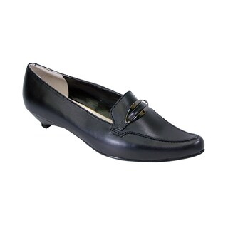 PEERAGE Louise Women Extra Wide Width Leather Pumps with Kitten Heels (More options available)