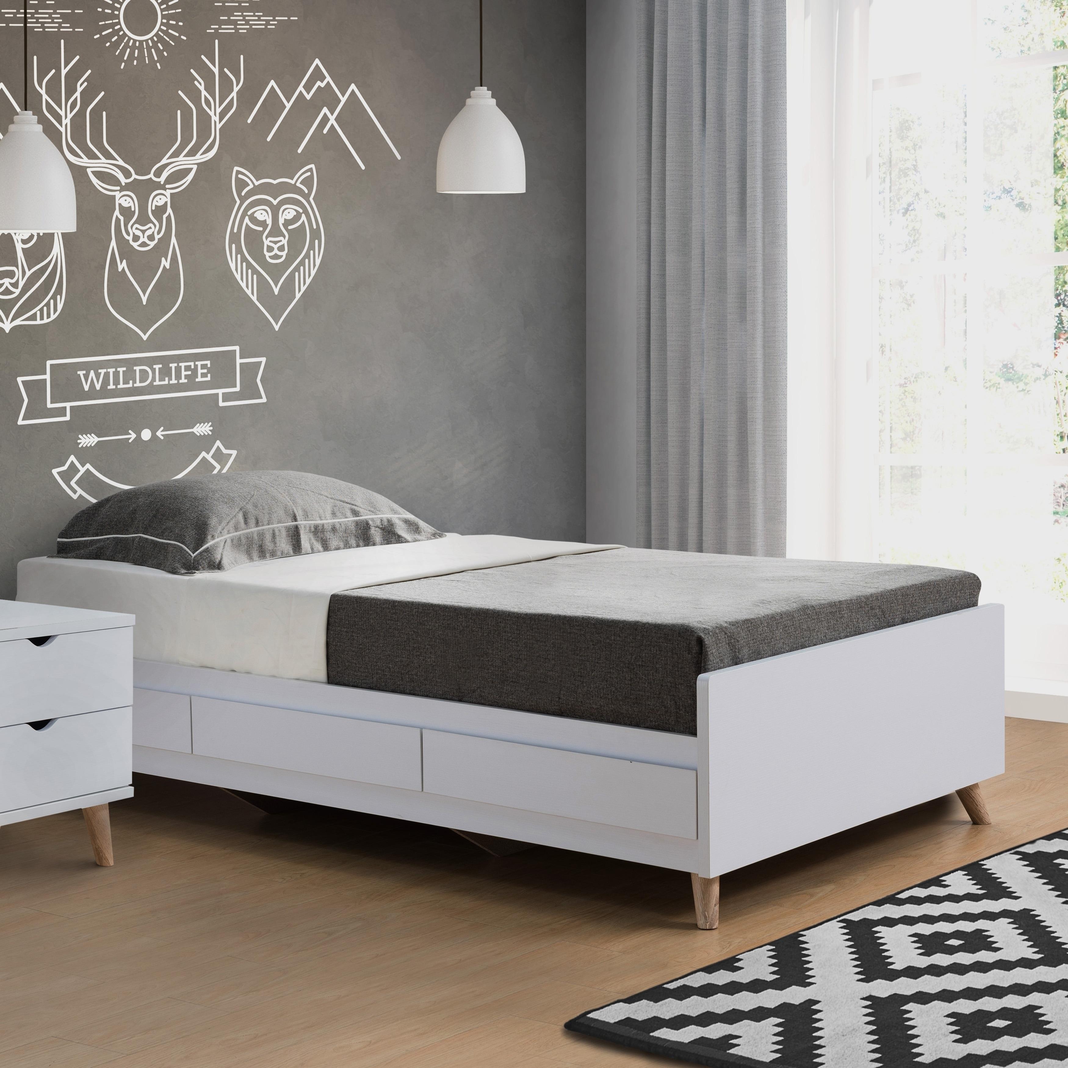 Bridgette Modern White Platform Storage Bed & Shop Bridgette Modern White Platform Storage Bed - Free Shipping On ...