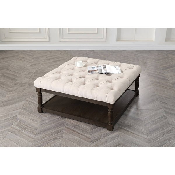 Shop Best Master Furniture Weathered Oak Sleigh: Shop Best Master Furniture Smoked Grey Upholstered Ottoman