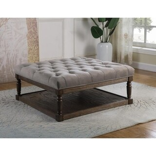 Best Master Furniture Smoked Grey Upholstered Ottoman
