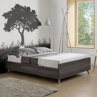 Riley Contemporary Distressed Grey Platform Storage Bed