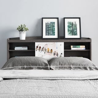 Riley Contemporary Distressed Grey Bookcase Headboard