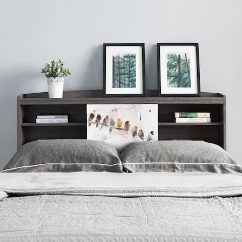 Riley Contemporary Distressed Grey Bookcase Headboard