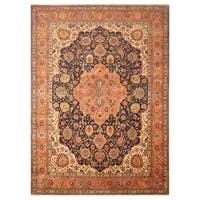 Handmade Herat Oriental Persian Hand-Knotted Antique Tabriz 1940's Wool Rug - 10'1 x 13'7 (Iran)