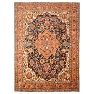 Handmade Herat Oriental Persian Hand-Knotted Antique Tabriz 1940's Wool Rug (10'1 x 13'7)