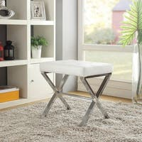 International Caravan Iron And Microsuede Vanity Stool