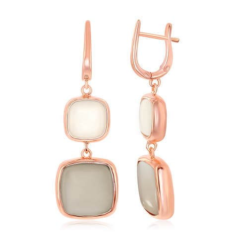 La Preciosa Sterling Silver Italian High Polish Rose Gold Natural White & Grey Square Moon Stone Earrings