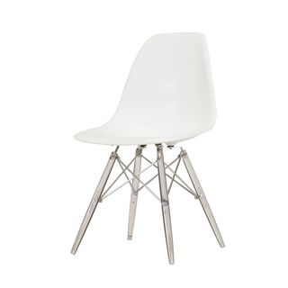 Handmade Mid-Century Modern Side Chair with White Seat & Clear Legs (China)