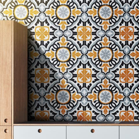 Handmade Baha in Orange, Black, Grey Tile, Pack of 12 (Morocco)