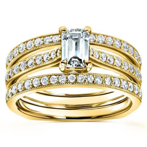 Annello by Kobelli 14k Gold 1 1/6ct TGW Emerald Moissanite and Diamond Euro-Band Trellis Bridal Set (GH/VS, GH/I)