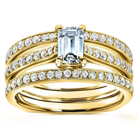 Annello by Kobelli 14k Gold 1 1/6ct TGW Emerald Moissanite and Diamond European Shank Trellis Bridal Set, 3 Piece (DEF/VS, GH/I)