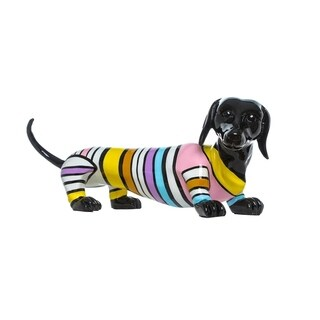 "Interior Illusions Plus stripe Dachshund Dog - 19"" long"