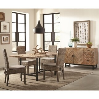 Rustic Industrial Style Chevron Patterned Dining Set with Matching Storage Server
