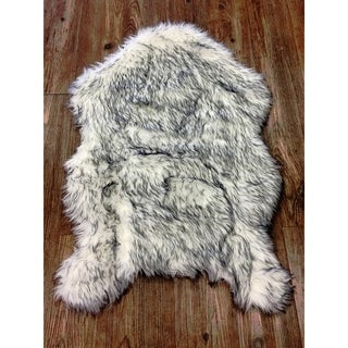 Doormat White/Grey Novelty Acrylic & Polyester with Suede Backing 2'X3' - 2' x 3'