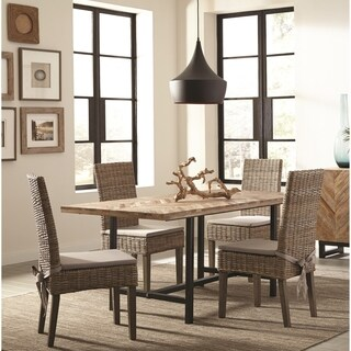 Rustic Industrial Style Dining Set with Chevron Pattern Wood Table Top