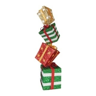 Celebrations Stacked Glitter Gift Boxes Christmas Decoration Multicolored Mesh 48 in.