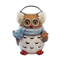 Alpine  Winter Owl Statue  Christmas Decoration  Brown  Resin  10 in.