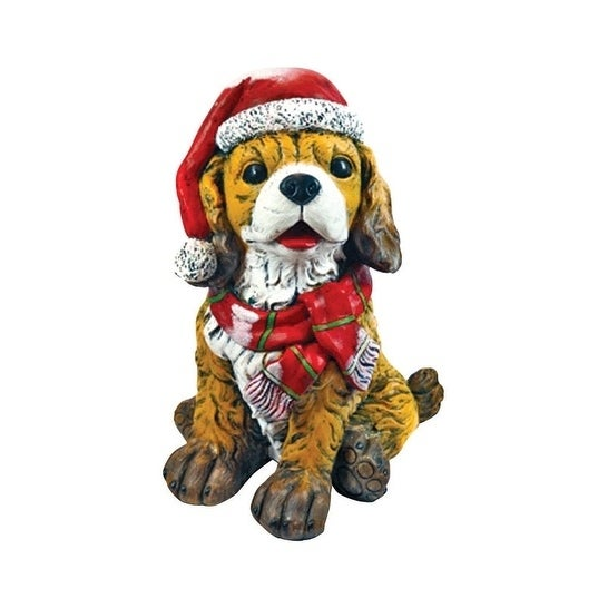 Alpine Dog with Santa Hat Christmas Decoration Brown Resi...