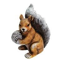 Alpine  Winter Squirrel Statue  Christmas Decoration  Brown  Resin  11 in.