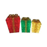 Citi-Talent  Gift Boxes  LED Christmas Decoration  Red/Green/Gold  Fabric  1 set