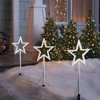 Celebrations  LED Star  Pathway Markers  White  Plastic  20 in. 3 pc.