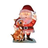 Product Works Rudolph  Pre-Lit 2D Santa and Rudolph  Yard Art  Multicolored  Metal  32 in. 1 pk