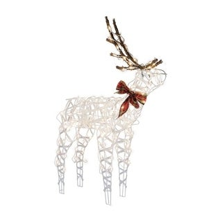 Sienna 3D Wire Buck Christmas Decoration White Metal 48 in.