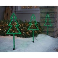 Celebrations  LED Tree  Pathway Markers  Green  Plastic  20 in. 3 pc.