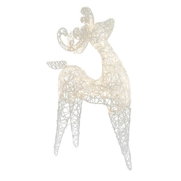 sienna 3d wire reindeer christmas decoration white metal 36 in - Metal Reindeer Christmas Decorations
