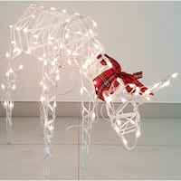 Sienna  Wire Deer with Red Plaid Bow  Lighted Deer  White  Metal  1 pk