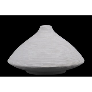 UTC53501: Ceramic Short Round Vase with Small Mouth, Flared Belly and Tapered Bottom SM Combed Finish White