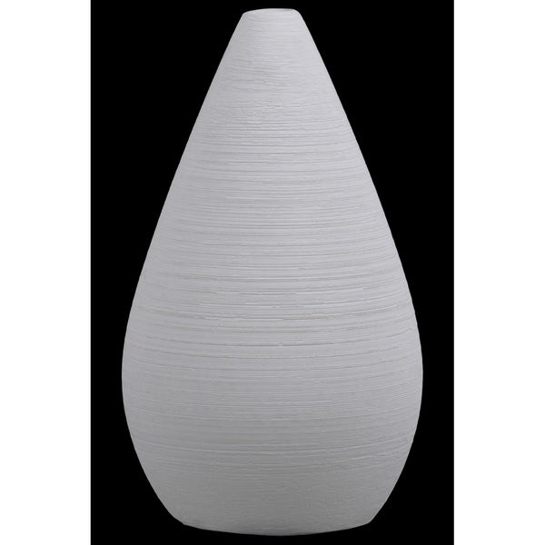 UTC53503: Ceramic Bellied Round Vase with Small Mouth and Tapered Bottom Combed Finish White