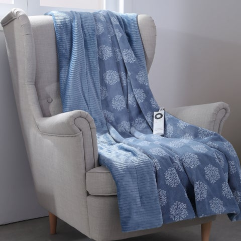 Berkshire Blanket Snowflakes Heated Throw with Intellisense
