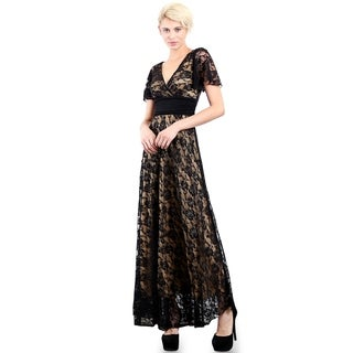 Evanese Women's Plus Size Formal Lace Long Dress Gown w/ Short Sleeves