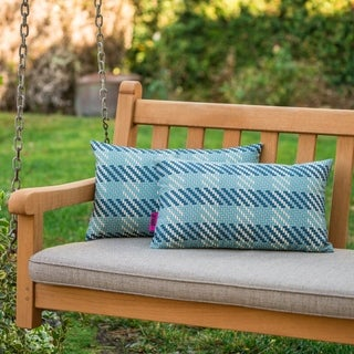 Marquis Outdoor Plaid Pillow (Set of 2) by Christopher Knight Home