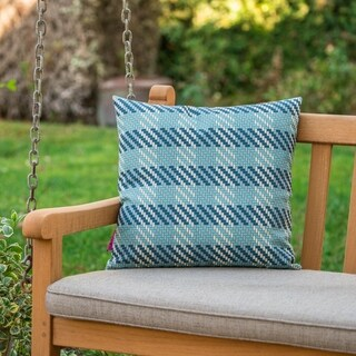 Marquis Outdoor Square Plaid Pillow by Christopher Knight Home