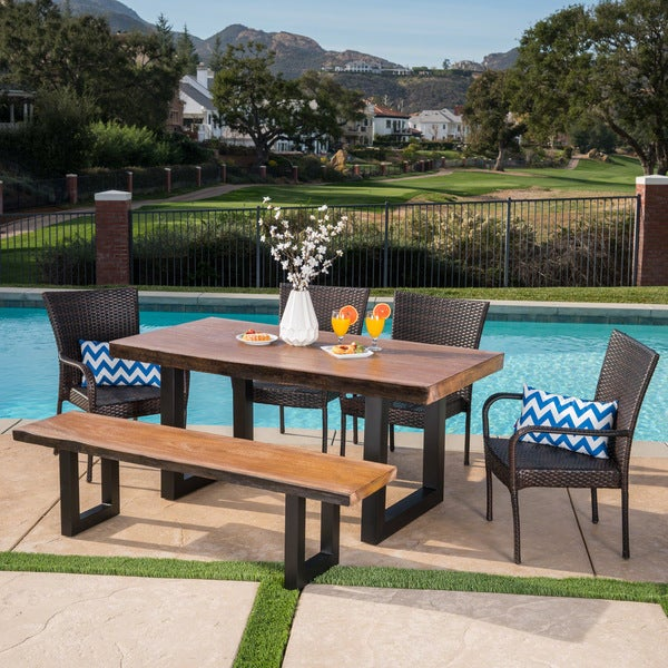 Feinberg Outdoor Rectangle Light-Weight Concrete Dining Set by Christopher Knight Home