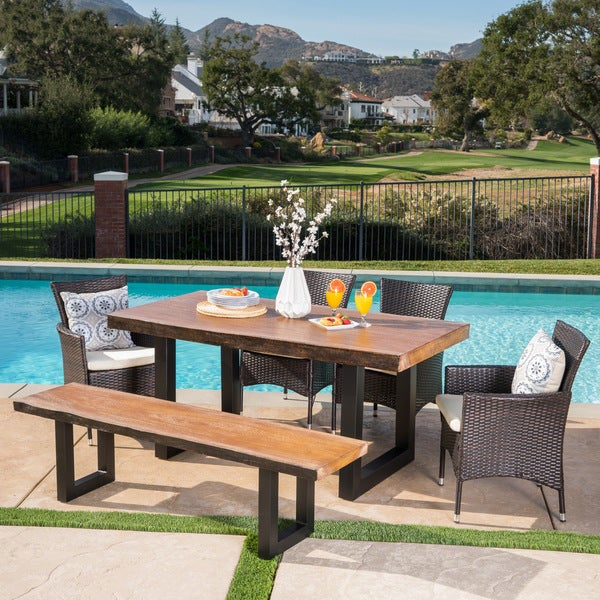 Lenny Outdoor Rectangle Light-Weight Concrete Dining Set with Cushions by Christopher Knight Home