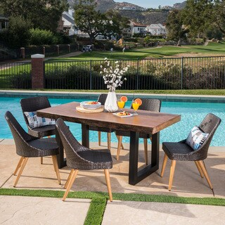 Oscar Outdoor Rectangle Light-Weight Concrete Dining Set by Christopher Knight Home